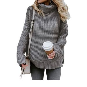 Sweaters - Gray Chunky Turtleneck Sweater